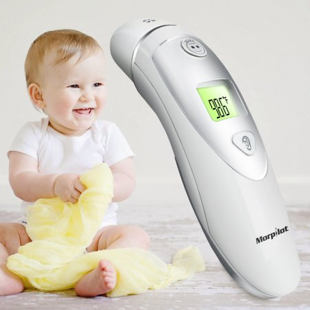 Morpilot Adult and Baby Forehead and Ear Thermometer Dual Mode Digital Infrared Thermometer- One Second Accurate Measurement Fever Detection 20 Memory Recall Safe and Hygienic