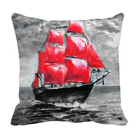PHFZK Oil Painting Pillow Case, Ship in Ocean Pillowcase Throw Pillow Cushion Cover Two Sides Size 18x18 inches