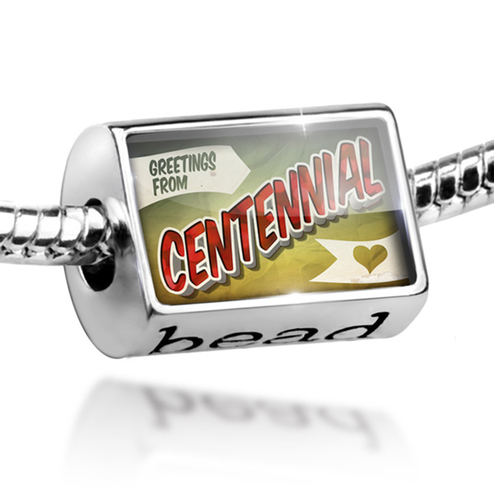 Bead Greetings from Centennial, Vintage Postcard Charm Fits All European Bracelets