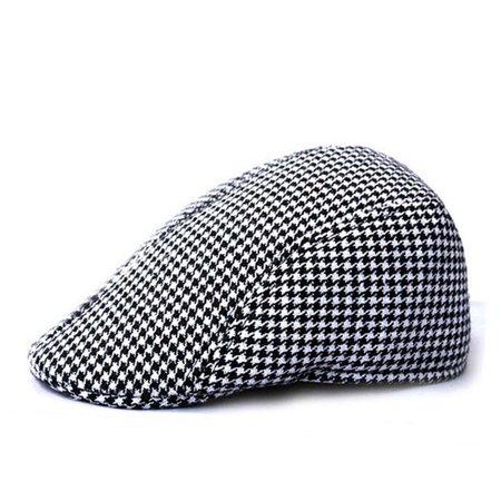 Opromo Men's Classic Tweed Wool Blend Newsboy Ivy Cabbie Driving Duckbill Hat-Style B Black White