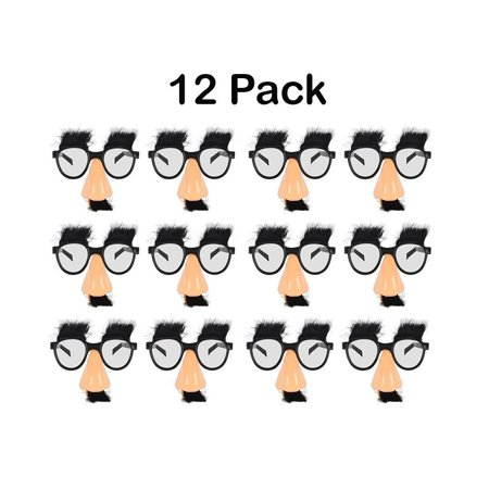 Disguise Glasses With Funny Nose - Eyebrows And Mustache - 12 Pack - For Kids Great Party Favor, Fun, Costume, Halloween – By Kidsco