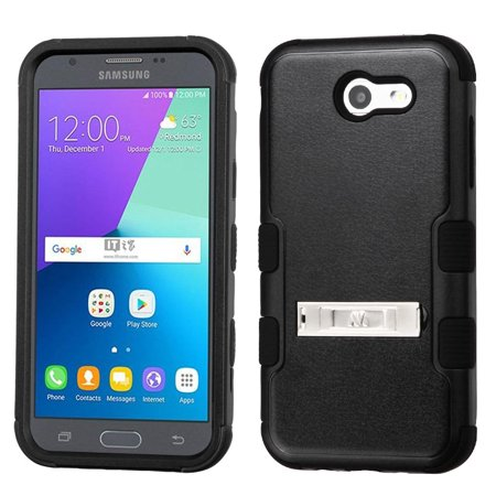 Kaleidio Case For Samsung Galaxy J3 J327P (2017) / Galaxy J3 Emerge [Natural TUFF] 3-Piece Hard Impact [Shock Absorbing][Kickstand]Hybrid Rubber Cover w/ Overbrawn Prying Tool [Black/Black]