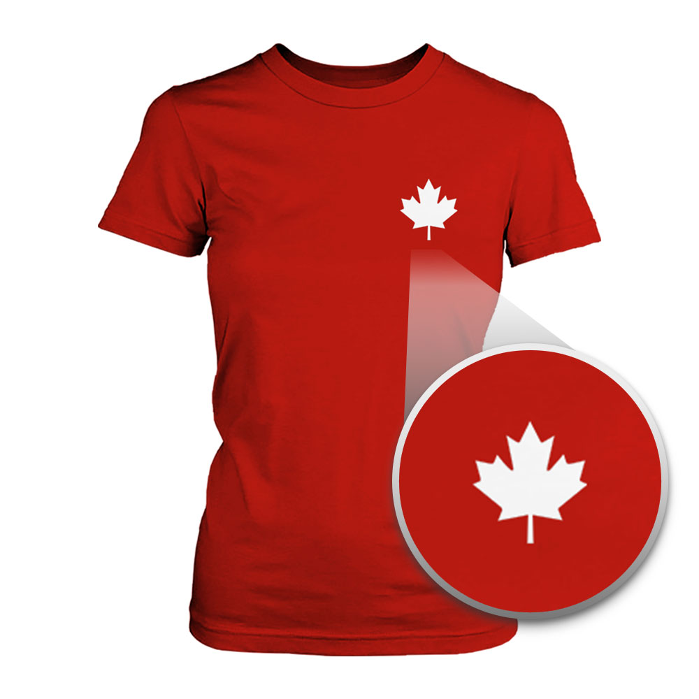 canada flag pocket printed shirt cute women's round neck tee for ...