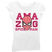 Amazing Spider-Man Girls' Classic Comic Character Head Short Puff Sleeve Graphic T-Shirt With Pink Foil
