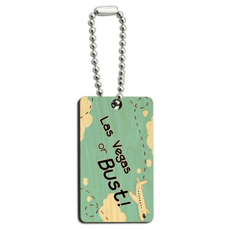 Las Vegas or Bust - Flying Airplane Wood Rectangle Key Chain