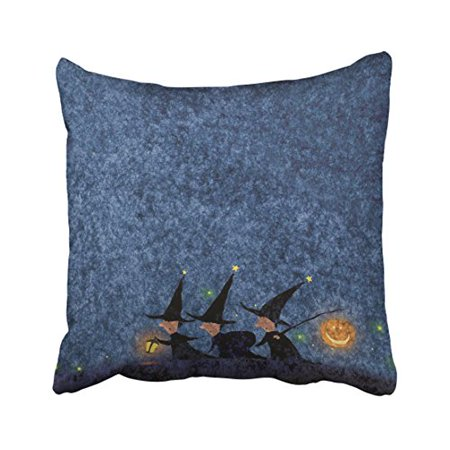 WinHome Halloween Night Cute Witches Pumpkin Lanterns Stars Decorative Pillow Cover With Hidden Zipper Decor Cushion Two Sides 18x18 inches