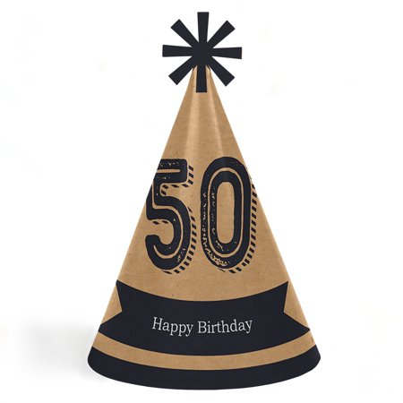 50th Birthday Hats (50th Milestone Birthday - Cone Happy Birthday Party Hats for Kids and Adults - Set of 8 (Standard)