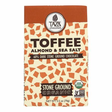 Organic Toffee - Taza Chocolate Stone Ground Organic Dark Chocolate Bar - Toffee, Almond, And Sea Salt - Pack of 10 - 2.5 Oz.