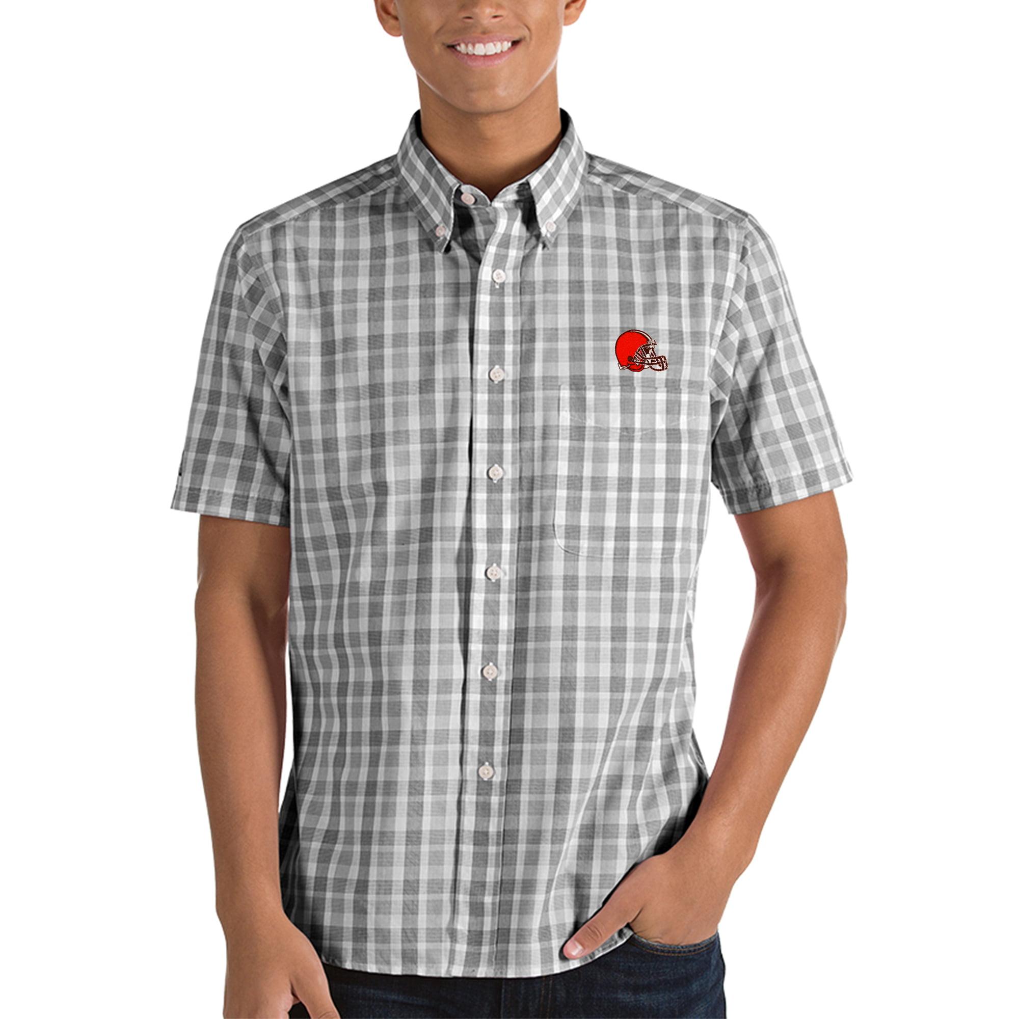 Cleveland Browns Antigua Crew Woven Button-Down Shirt - Black/White