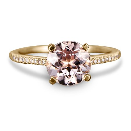 1.25 Carat Peach Pink Morganite (Round cut Morganite) and Diamond Engagement Ring in 10k Rose Gold, Women Engagement Ring