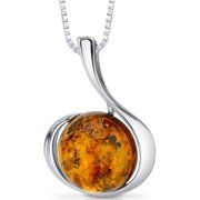 """Peora Round Cut Baltic Amber Rhodium over Sterling Silver Pendant, 18"""""""