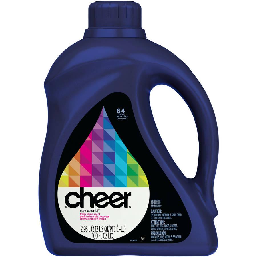 Cheer Fresh Clean Scent Liquid Laundry Detergent, 64 Loads, 100 fl oz