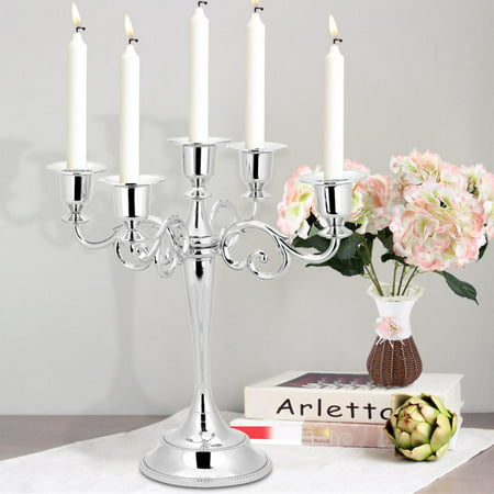 WALFRONT 5 Arms Vintage Candlestick Metal Crafts Candle Holder Stand Wedding Party Home Decor, Vintage Metal Candlestick, Metal Candle Stand