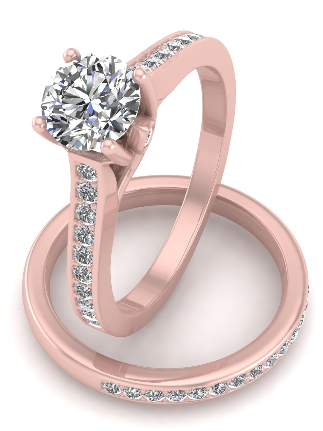 5/8ct Diamond Bridal set in 10k Rose Gold (10K Gold, L-M, I2-I3, 5 ...