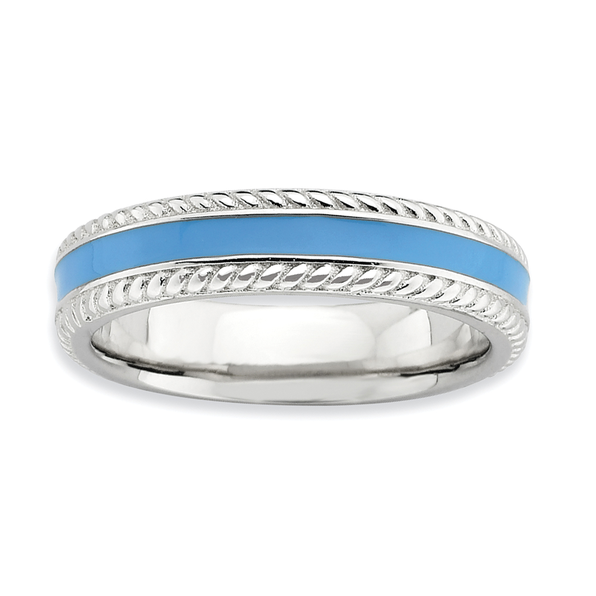 925 Sterling Silver Blue Enameled Band Ring Size 9.00 Stackable Ed Fine Jewelry Gifts For Women For Her - image 3 of 3