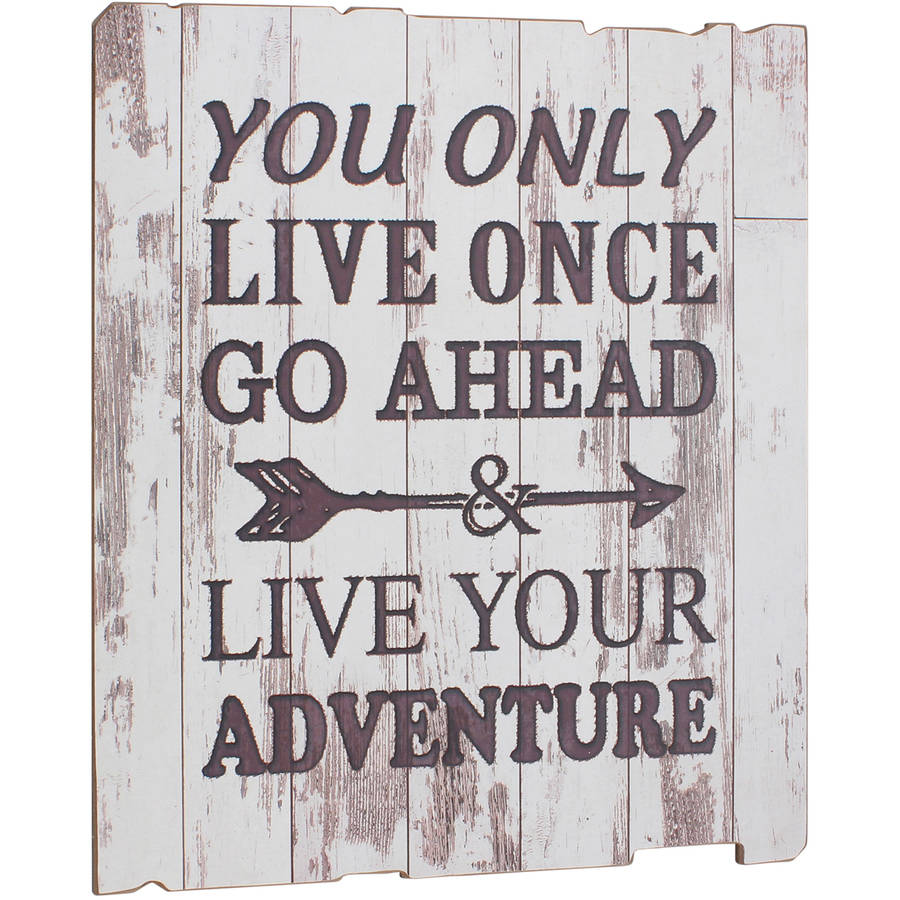Live Your Adventure Weathered White Wood Wall Art