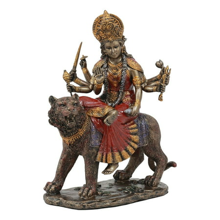 Ebros Bronzed Eight Handed Hindu Goddess Durga Sitting On Bahan Tiger Statue The Invincible Devi Shakti Independence Beautiful Altar Sculpture Figurine