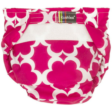 Kushies Ultra-Lite All-In-One Form-Fitted Washable Cloth Diapers (Fuchsia Modern Flowers, Toddler)