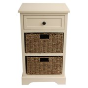 Two Basket Side Table Storage Chest