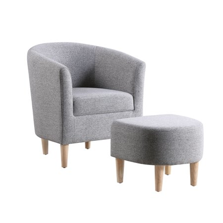 Modern Accent Arm Chair Upholstered Chair Fabric Single Sofa + Ottoman Foot Rest Gray