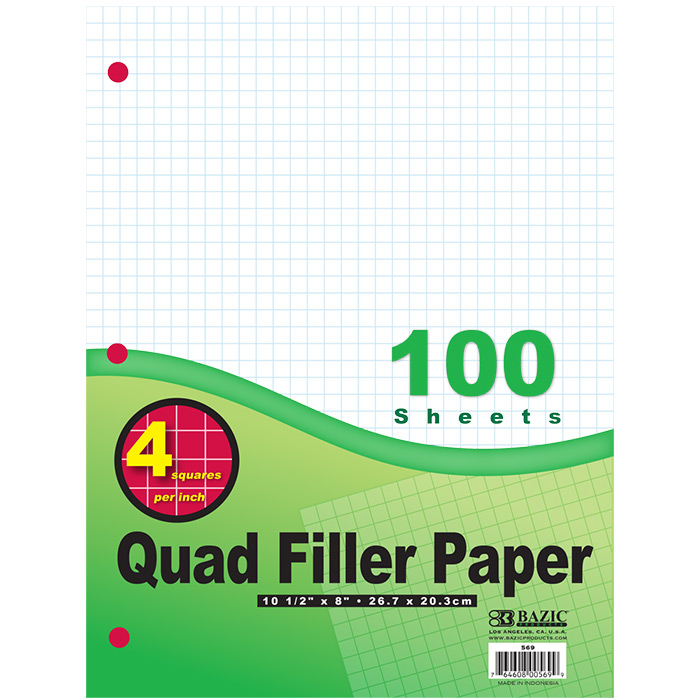 "BAZIC 100 Ct. 4-1"" Quad-Ruled Filler Paper, Case of 36"