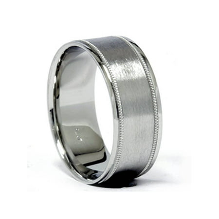 7b794757d2d Platinum 8mm Brushed Comfort Fit Ring Mens Wedding Band