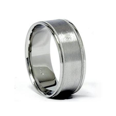 Platinum 8mm Brushed Comfort Fit Ring Mens Wedding Band - image 1 of 2