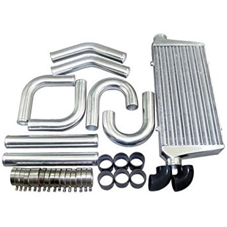Tube & Fin 30.75x11.75x3 Intercooler + 3 inch Piping Kit LANCER Celica Mustang