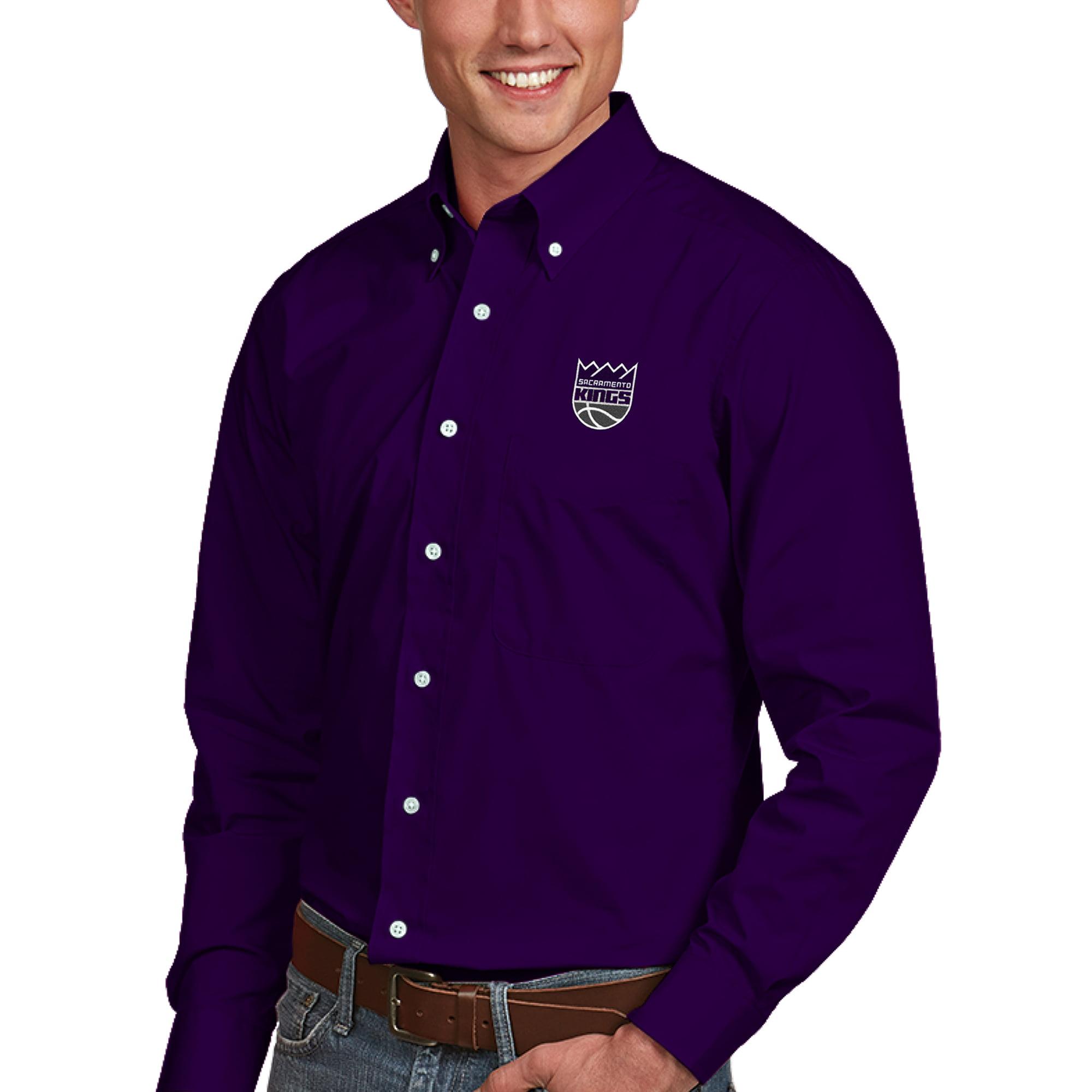 Sacramento Kings Antigua Dynasty Button-Down Long Sleeve Shirt - Purple
