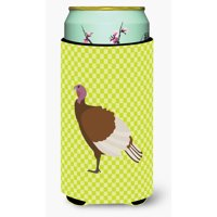 Bourbon Red Turkey Hen Blue Check Tall Boy Beverage Insulator Hugger BB8156TBC