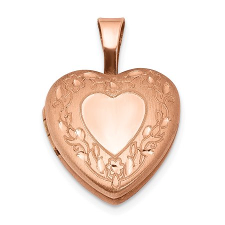 925 Sterling Silver Rose Gold Plated Flower Border 12mm Heart Photo Pendant Charm Locket Chain Necklace That Holds Pictures Religious Cross Gifts For Women For (Silver 12mm Flower)