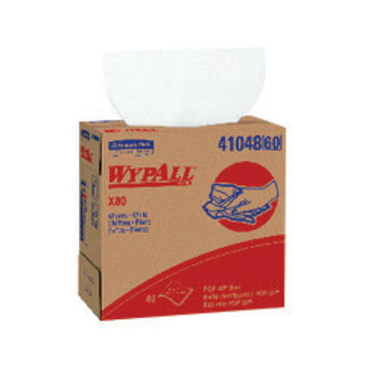 Kimberly-Clark Professional* WYPALL* X80 SHOPPRO 9.100'' X 16.800'' White HYDROKNIT* Shop Towel (80 Per Pop-Up Box)