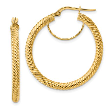 Primal Gold 14 Karat Yellow Gold 3x25mm Twisted Round Hoop Earrings