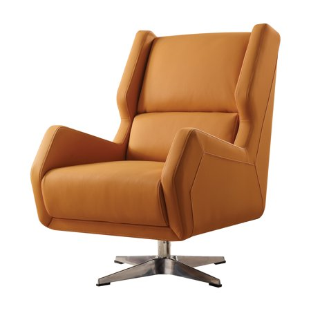 Prime Acme Eleanor Swivel Accent Chair In Orange Leather Gel Pdpeps Interior Chair Design Pdpepsorg