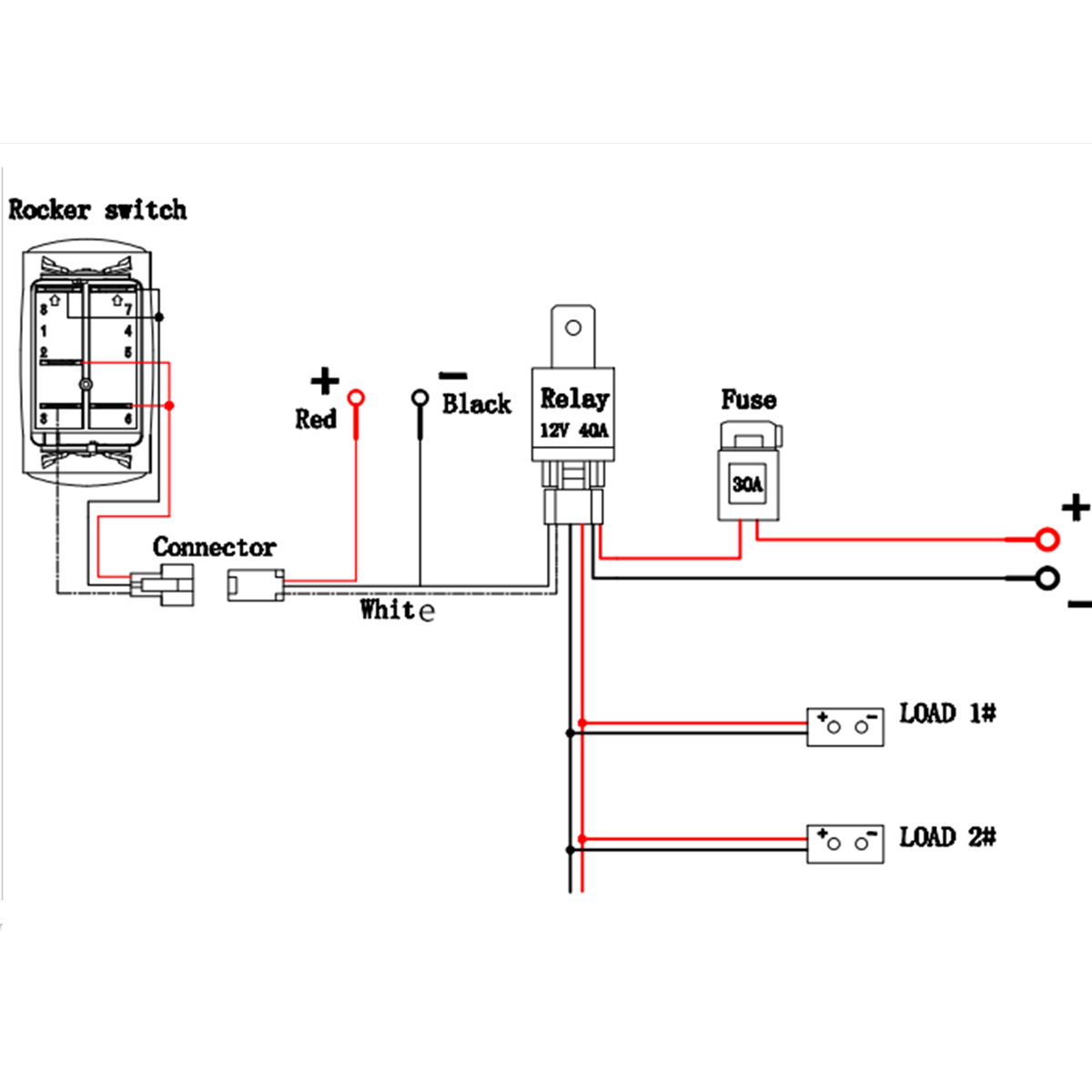 12v 40a 300w Relay Fuse Wiring Harness For Any 5pin Led Light Rocker Off Road Light Relay Wiring Diagram on how does a heat pump work diagram, mercedes-benz 2000 s500 fuse box diagram, fuse and relay diagram, kc light relay diagram, from 1993 nissan pathfinder battery wiring diagram, jeep cj7 light diagram, off-road light electrical diagram,
