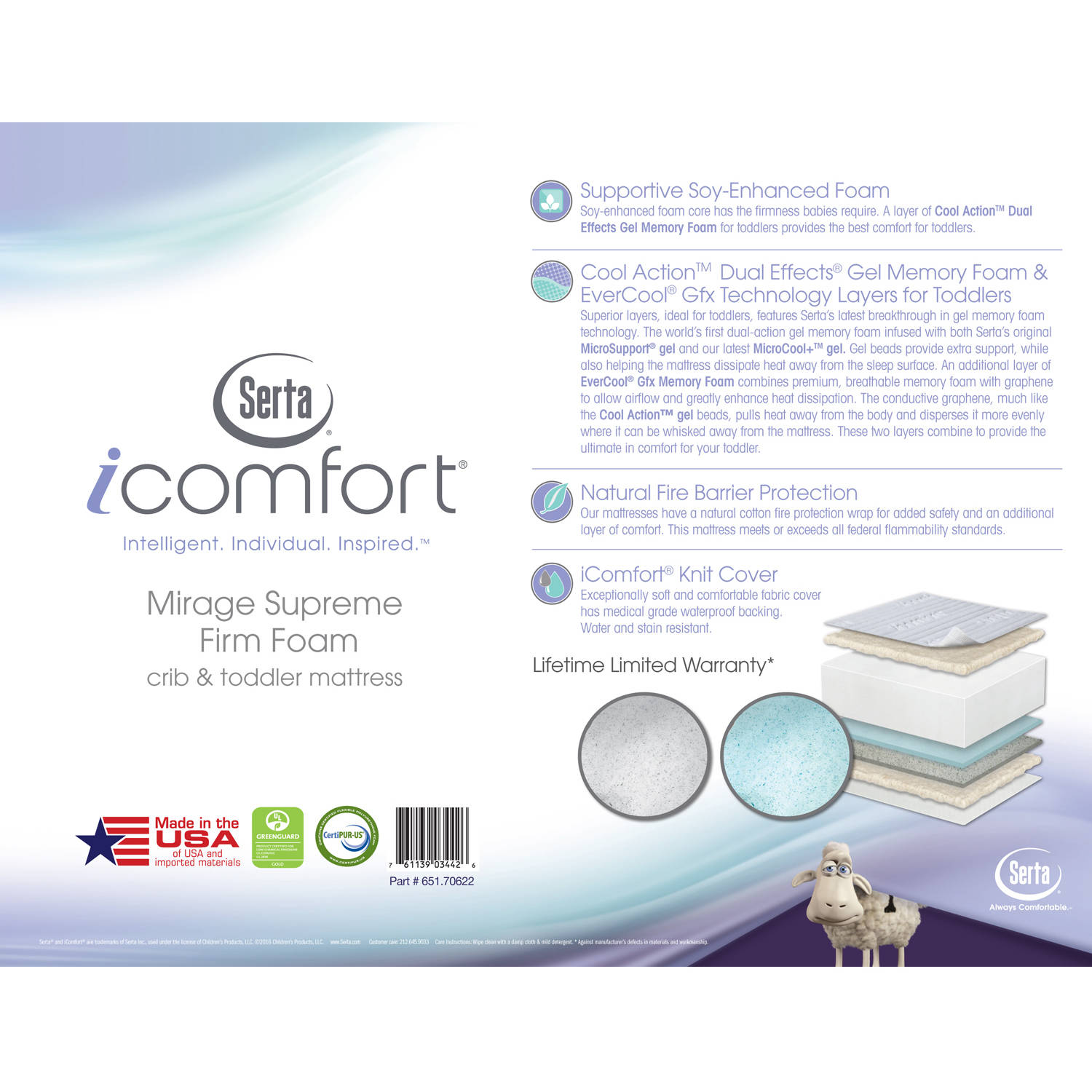 serta icomfort mirage supreme foam crib and toddler mattress