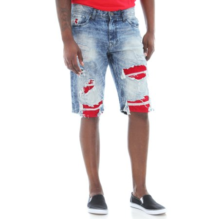 Jordan Craig Men's Ripped With Sueded Backing Denim Shorts ()