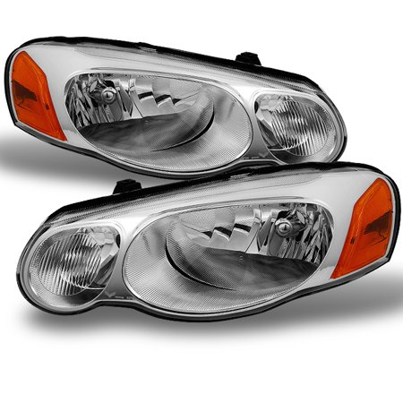 Fit 04-06 Chrysler Sebring Covertible & Sedan Chrome Replacement Headlights Pair 01 Chrysler Sebring Headlight