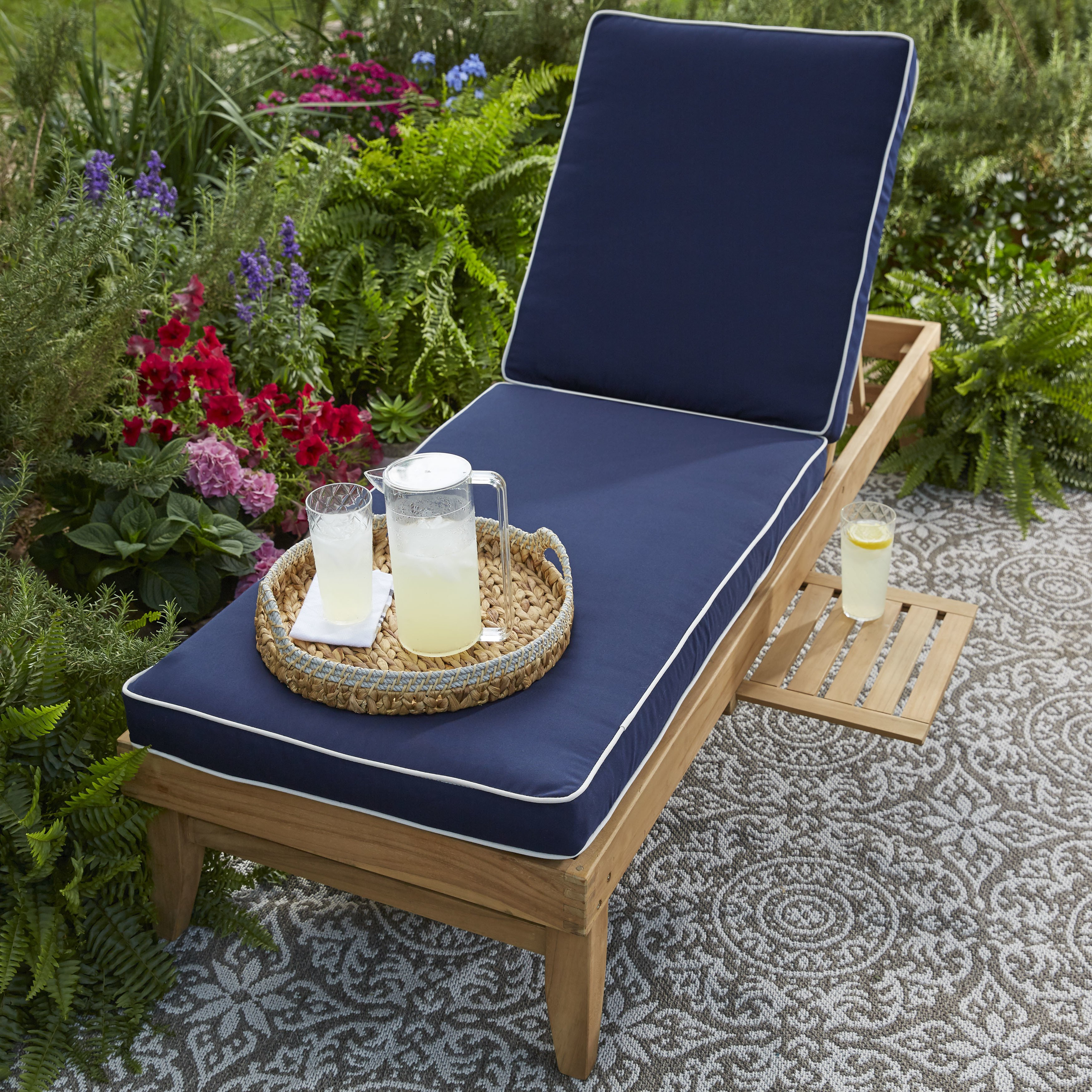 Mozaic Company Deluxe Teak Hinged Chaise Cushion with Sun...