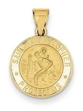 Vincent Hollow Medal Pendant Religious Charm 14k Polished /& Satin St
