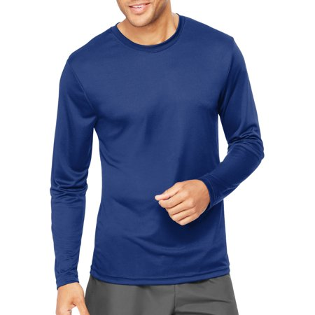 Hanes Mens Long Sleeve CoolDRI Performance T-Shirt -Deep Blue S