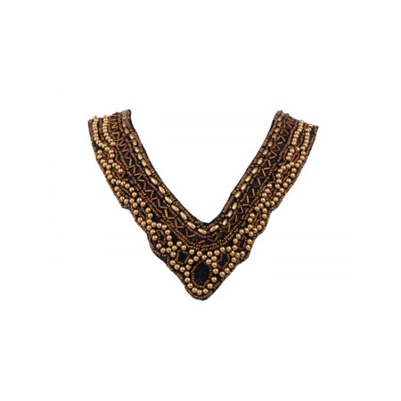 Tribal and Ethnic Inspired Golden Beads Deep V-Cut Statement Bib