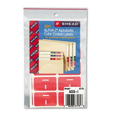 Smead 67179 Alpha-Z Color-Coded Second Letter Labels- Letter I- Pink- 100/Pack (Smead Letter A Labels)
