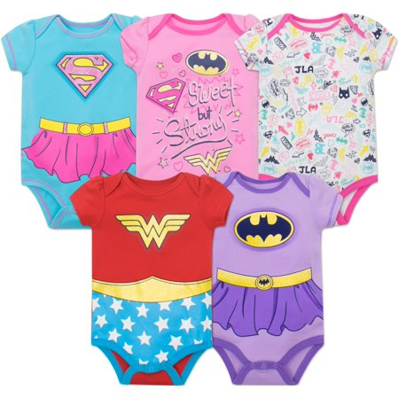 Justice League Baby Girls' 5 Pack Bodysuits - Wonder Woman, Batgirl and Supergirl - Baby Wonder Woman Onesie
