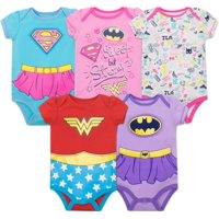 Justice League Baby Girls' 5 Pack Bodysuits - Wonder Woman, Batgirl and Supergirl