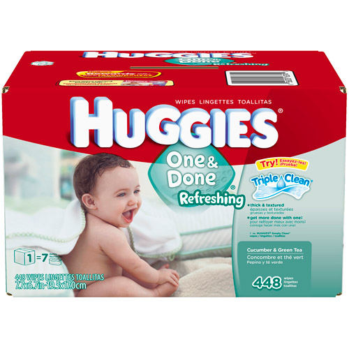 Huggies One & Done Refreshing Baby Wipes, 448 Count, Refill