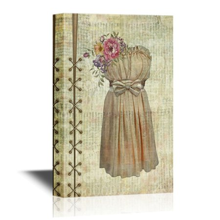 Vintage Bridal (wall26 Canvas Wall Art - Bridal Dress on Vintage Paper Background - Gallery Wrap Modern Home Decor | Ready to Hang - 32x48)