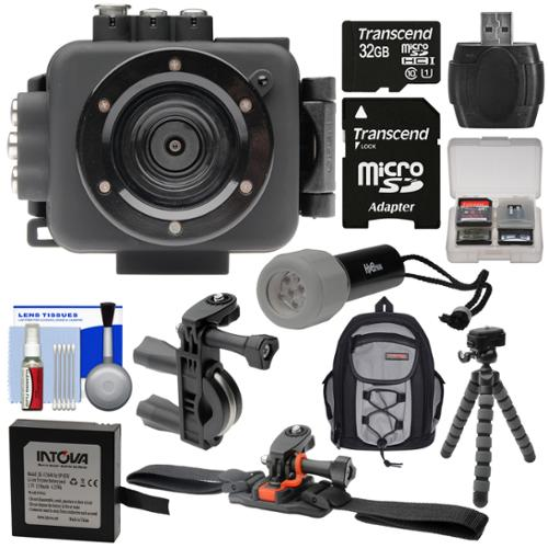 Intova Edge X Waterproof Sports HD Video Camera Camcorder with 32GB Card + Battery + LED Torch + Handlebar & Vented Helmet Mounts + Backpack + Kit