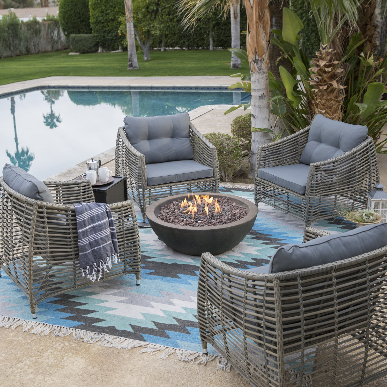 Belham Living Kambree Chat Set with Tucson Fire Pit