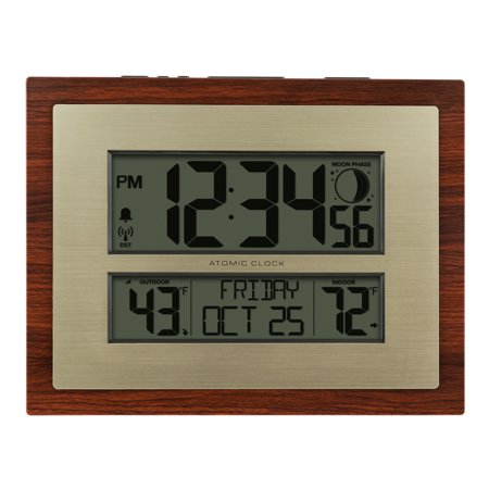 Better Homes & Gardens W86111 Atomic Digital Clock with Moon Phase & Calendar ()